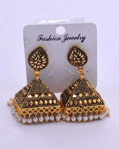Traditional golden  Indian women's Jhumki with white pearl