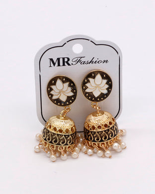 Stylish traditional jhumki white and golden color