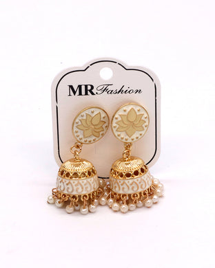 Stylish traditional jhumki in offwhite color