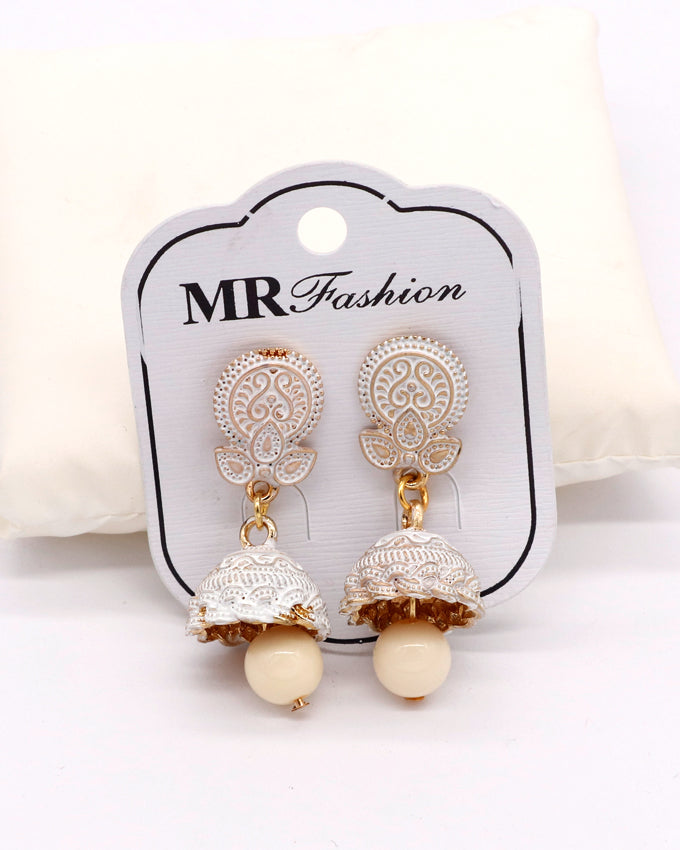 Stylish traditional jhumki white color