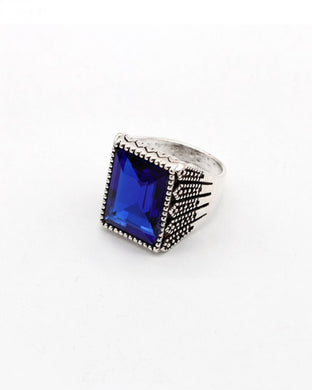 Blue stone silver color men's ring