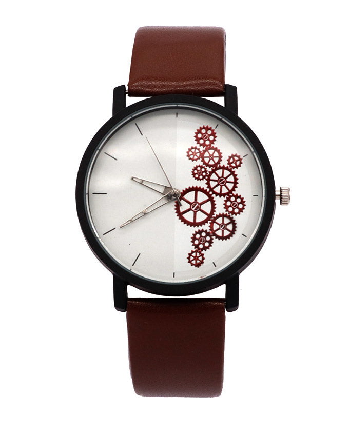 Brown Strap with white dial stylish men women watch