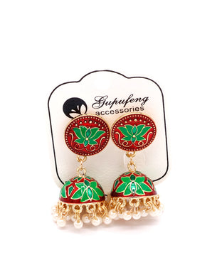 Stylish traditional jhumki in green and red color