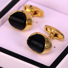 Load image into Gallery viewer, Black crystal stone golden men cufflinks