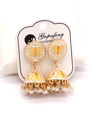 Stylish traditional jhumki offwhite color
