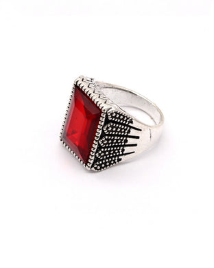 Red stone silver color men's ring
