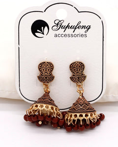 Traditional Indian Jhumki women earrings in Brown color