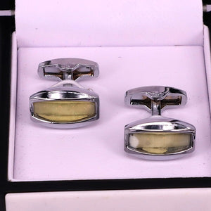 Silver crystal stone men cufflinks