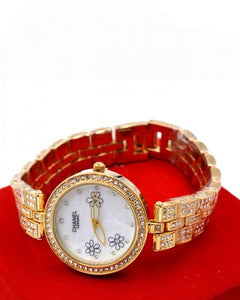 Silver strap with small crystal stone white dial women's watch