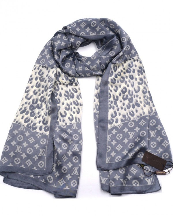 Pure silk women scarf Grey