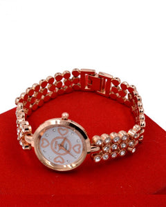 white dial Silver strap with small crystal stone  women's watch