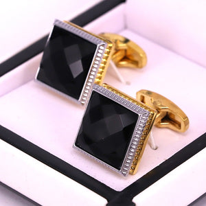 Black crystal stone golden men cufflinks