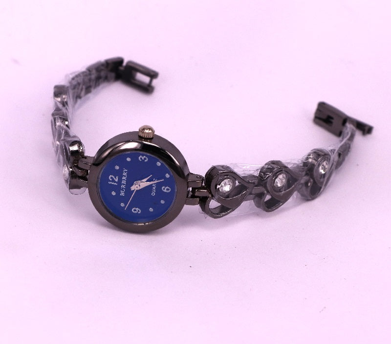 Black chain with blue dial women's watch