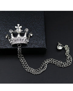 Crown brooch lapel pin coat pin for men women in silver golden