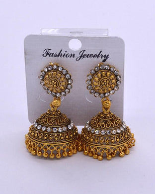 Traditional Indian women's Jhumki with zarcone stones.