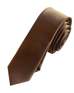 Chocolate brown solid plain men necktie