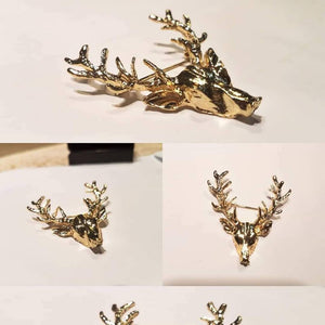 Deer Head Brooch lapel pin coat pin for men women in golden silver
