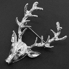 Load image into Gallery viewer, Deer Head Brooch lapel pin coat pin for men women in golden silver