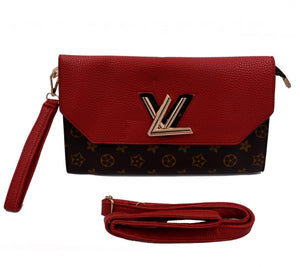Maroon and brown LV Fashion Clutch bag