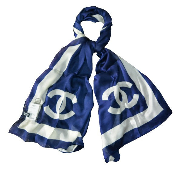 Pure silk women scarf Blue and white