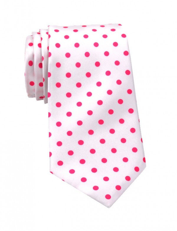 White with Pink polka dot neck tie for men