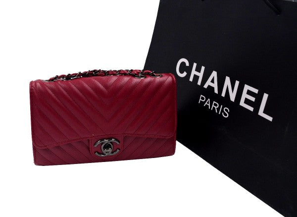Maroon CHNL Clutch Bag for women