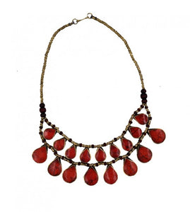 Turkish Sea Red Stones Neclace with Antique Chain