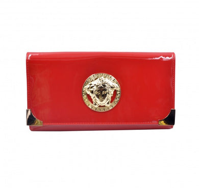 Women Fashion Clutch bag in Shine Red color with logo in front