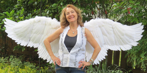 Custom built real feather costume angel wings by the Angel Wing Makers
