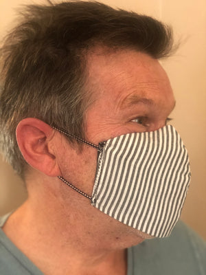 Fabric Face Masks: three layers, washable, reversible, with nose wire and ear elastic