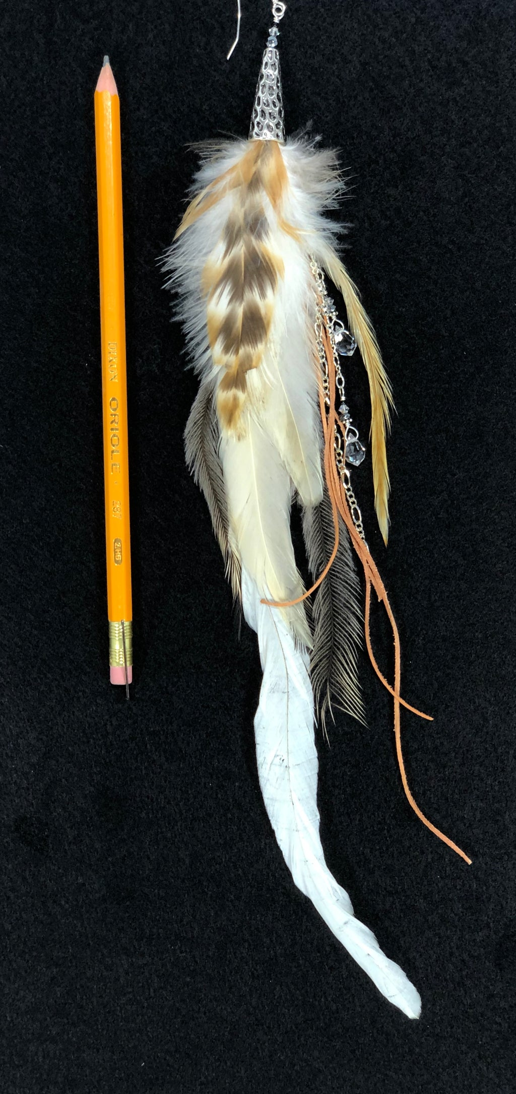 Single feather earring ER01 with natural colored feathers and Silver accents