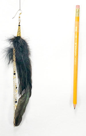 Buy it now single feather earring ER02 with black feathers and gold accents