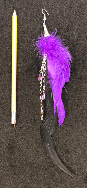 Single feather earring ER03 with purple and black feathers and silver accents.