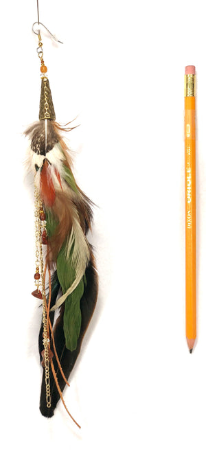 Incredible single feather earring ER04 with natural, moss, burnt orange, and jasper feathers and gold accents.