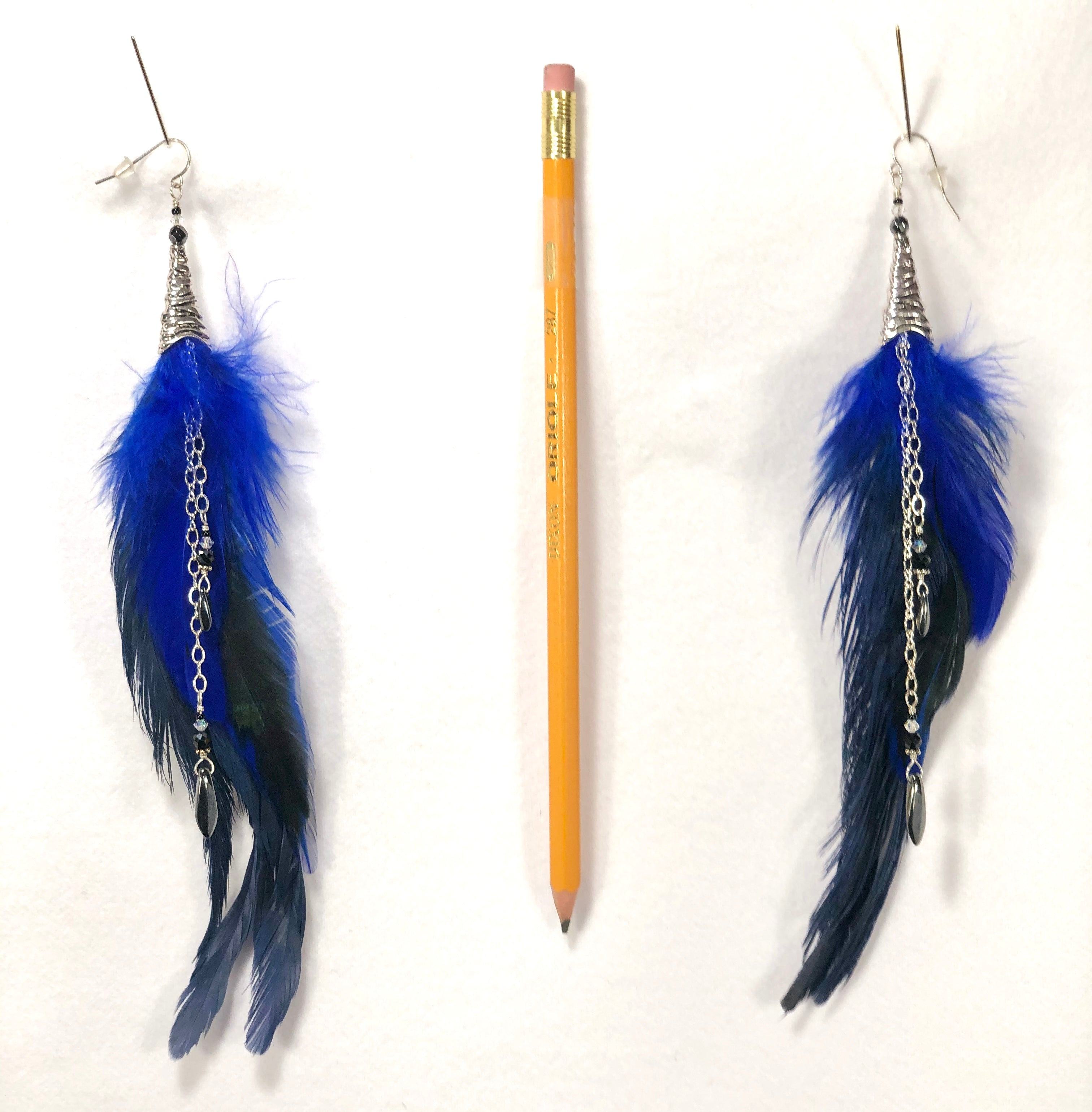 Pair of Royal Blue feather earrings with silver accents ER06