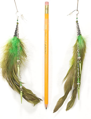 Pair of Moss Green ER07 feather earrings with silver accents