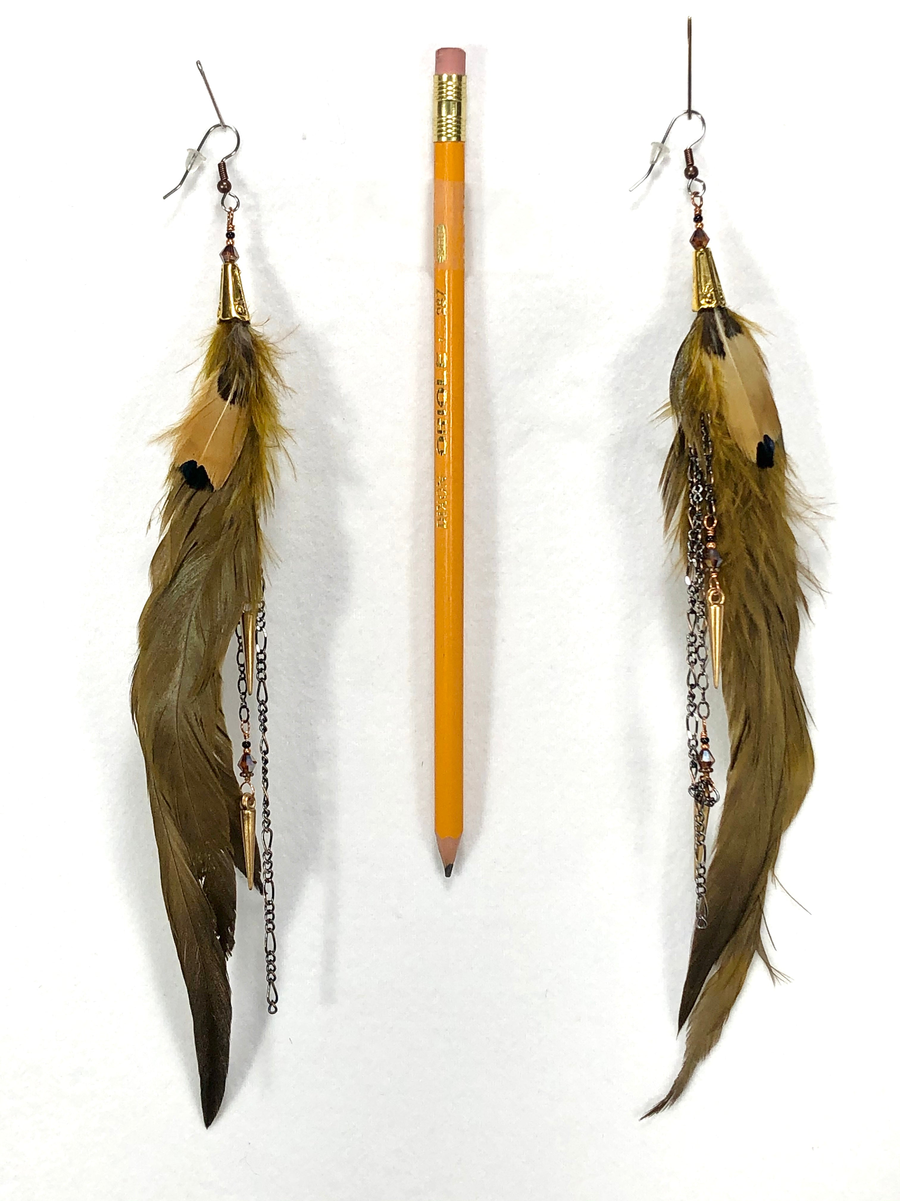 ER08 Pair of feather earrings in Army green and pheasant feathers with gold accents.