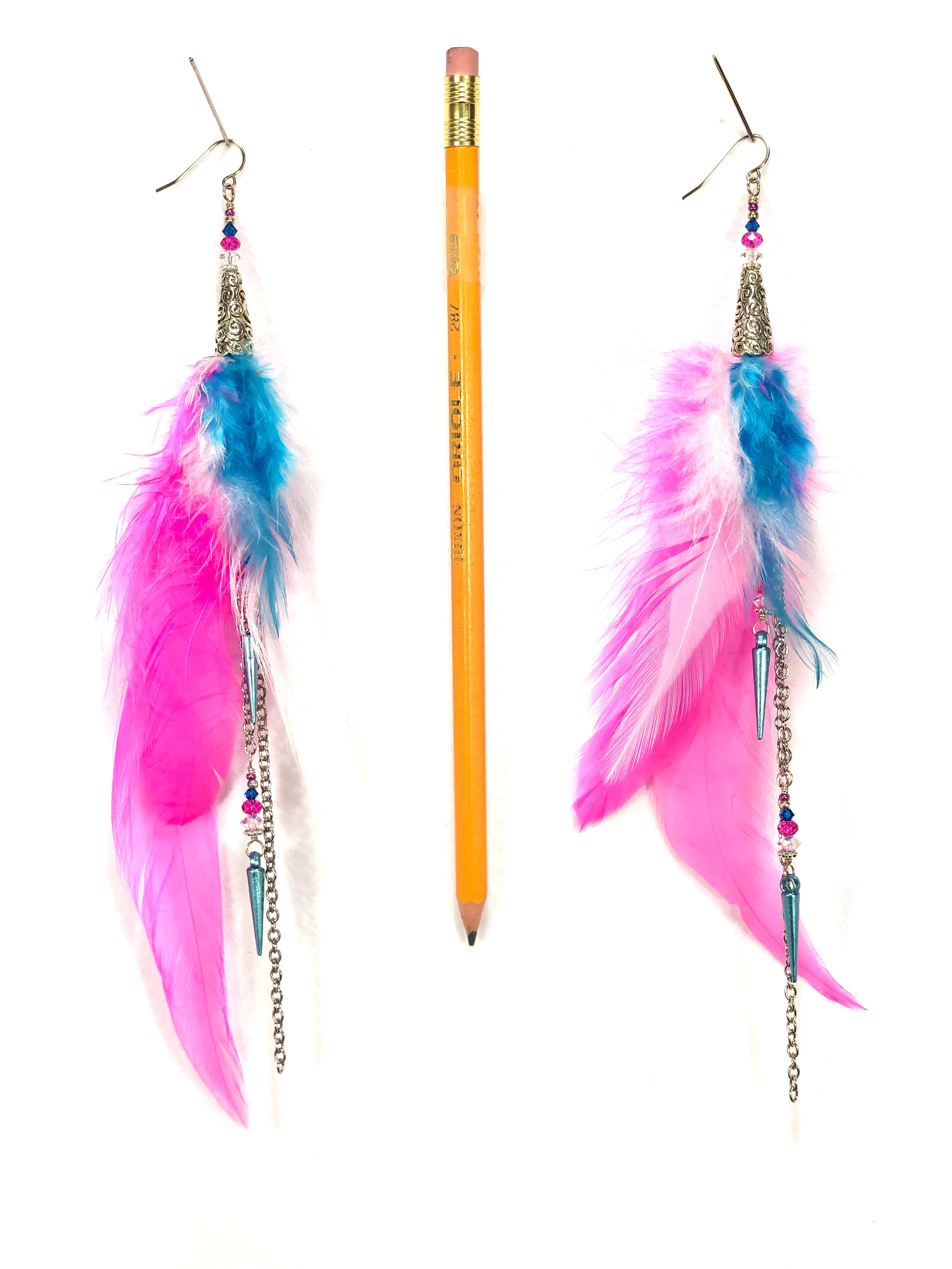 ER10 buy it now pair of feather earrings in pink, white, and turquoise feather with silver accents.