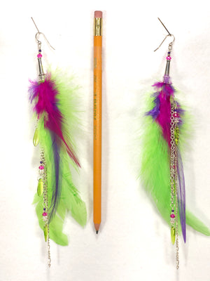 ER11 buy it now earring pair with green, pink, and purple feathers and Silver accents