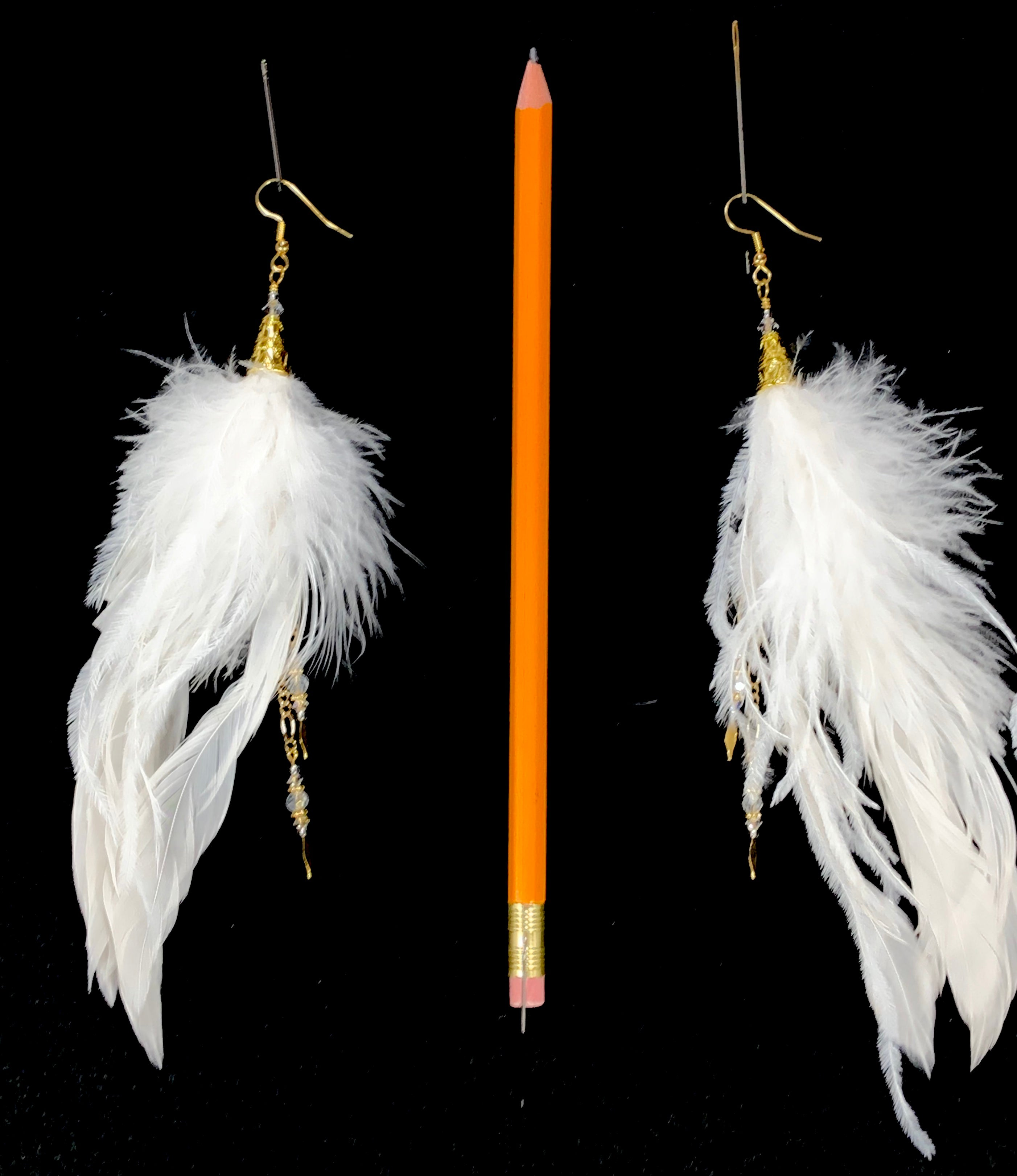 ER12 White feather earrings with gold accents
