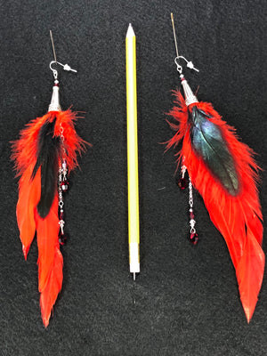 ER13 Red and Black feather earrings with Silver accents