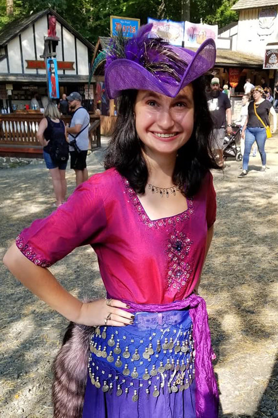 Purple Tricorn Hat in cool strawcloth with silk flower and feathers