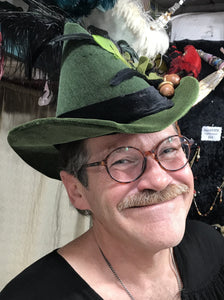 Eric Heath wearing an Alewife Hat for men, built by Debra Hathaway of Dragon Wings LLC at the Maryland Renaissance Festival