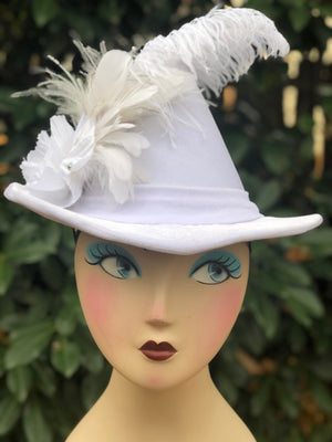 Bridal Alewife Hat in soft white velvet with feather hat pin
