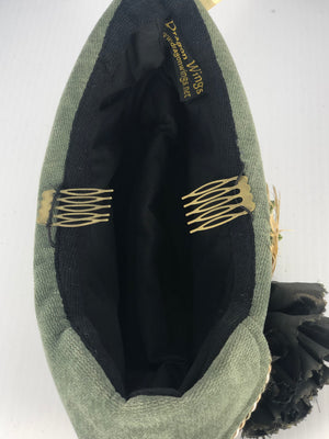 Inside view of a velvet Scottish Highlander Hat, smaller hats come with combs for attaching.