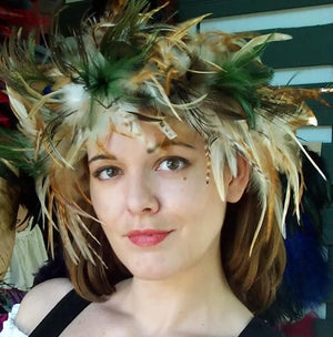 Festoon Stretchy Feather Headband in natural colors by Dragon Wings LLC