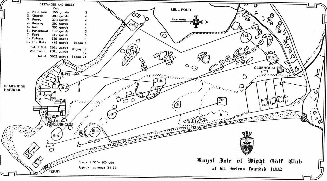 Drawing of the golf course layout for The Royal Isle of Wight Golf Club