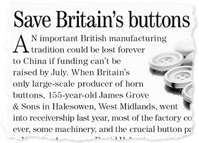 Magazine appeal to save british button manufacturing