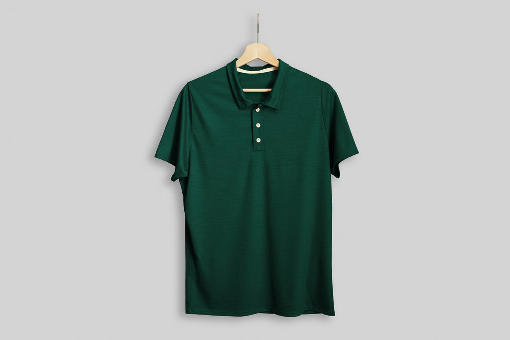 Fern Signature Merino Golf Polo Shirt displayed on a hanger
