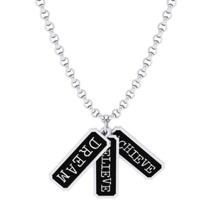 Stg Silver Dream-Believe-Achieve Pendant on chain